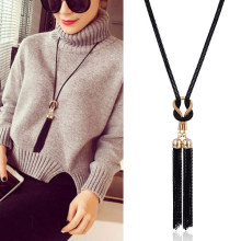 New Arrival Double Vintage Black Tassel Pendant Necklaces Alloy Female Long Women Sweater Chain Decorative Jewelry