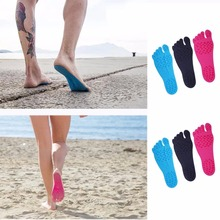 1 Pair Sticker Shoes Stick on Soles Sticky Pads NAKEFIT for Feet beach sock waterproof Hypoallergenic adhesive pad for walking(China)