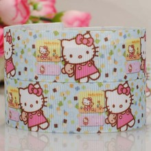 "Free shipping 50yards 7/8 "" 22 mm small bear and cut hello kitty pattern print grosgrain tape ribbon DIY handmade"