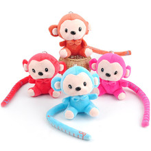 Korean Fashion Long Tail Monkey Plush Toys Cute Ruler Tail Monkey Peluche Pendant Dolls 10pcs/lot