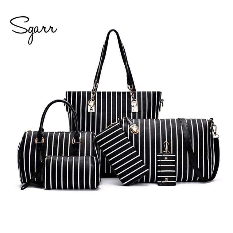 SGARR New Fashion Women Handbag Shoulder Bag Luxury Designer PU Leather Striped Ladies Messenger Bags 6 Pieces Set Composite Bag<br>