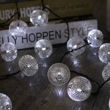Iron Wire Ball Solar Power LED Fairy Light 20 LED String Light Curtain Lamp Waterproof Christmas Party Outdoor Garden Decor