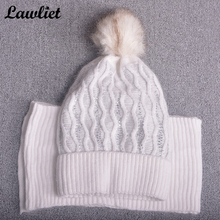 Beanies Hats for Women Winter Wave Type Pom Pom Wool Fur Hats Ladies Gorro with Long Scraf Winter Skullies Bonnet Hat Cap T197(China)