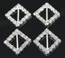 10pcs Square Star Wedding Invitation Rhinestone Crystal Buckles Silver Plated DIY Jewelry Accessores 15x15mm