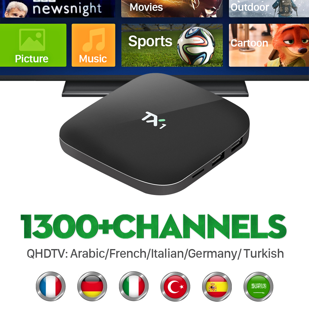 Smart Android IPTV Box Amlogic S805 Quad Core H.265 HD Load BT WIFI 1300+ Arabic French Africa Europe IPTV Channels TV Receiver<br><br>Aliexpress