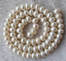 "Hot new fashion charming AAA free 5-7MM White Freshwater Cultured Pearl Beads jewelry Natural Stone 15 ""BV29 Wholesale Price"