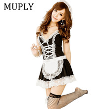Buy MUPLY 2018 New Sexy Lingerie Sexy Underwear Lovely Female Maid Lace Sexy Miniskirt Lolita Maid Outfit Sexy Costume Sex Products