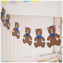 9pcs/Set Brown Teddy Bear With Blue Bowtie Paperboard Garland Flag Banner For Kid Room Nursery Banner Birthday Decoration DIY