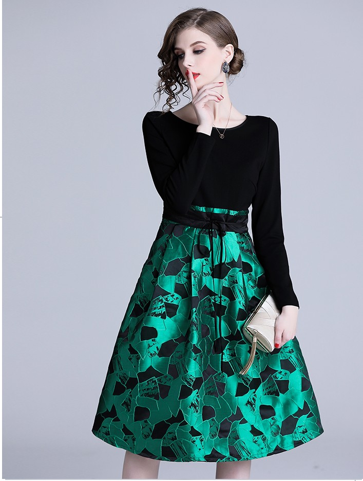 2019 New women's fashion slim sleeve Elegant dresses girls casual green matched flower dinner dress lady vintage vestidos #A231
