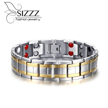 Hot Sale Energy Magnetic Health Bracelet Men health Style Plated Gold Bracelets For Men Titanium steel bracelet 21.5cm