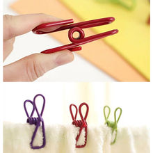 10pcs/lot Clothes Clamps Metal Clothes Laundry Hangers Strong Grip Washing Line Pin Pegs Clips