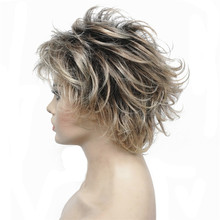 StrongBeauty Women's Short Straight Bloned Mix Synthetic Full Wigs