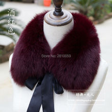 J0060 2017 Real Fox Fur Collar Women 100% Natural Fox Fur Scarf Winter Warm Fur Collar short Scarves with removable silk ribbon
