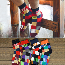 Hot sale! men's socks famous brand 8 pairs/lot autumn-winter Men's Cotton Colorful lattice socks In tube Breathable Male Socks(China)