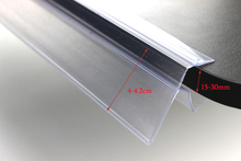 PVC wood glass shelf guardrail bar cover label banner holder strip shelf price talker strip price tag label holder snap