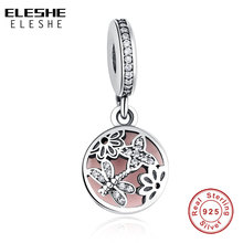 ELESHE Crystal Beads Fit Pandora Charms Bracelets 925 Sterling Silver Cubic Zircon Dragonfly Daisy Pendant DIY Jewelry Making