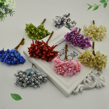 10pcs mulberry Silk stamens leaf Artificial Flower Bouquet For Home Party Wedding Car Decoration DIY Wreath Gift box Fake flower(China)