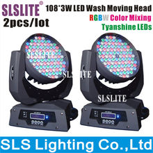 SLSLITE 2PCS/LOT led 108x3W wash moving head led stage light 108x3w rgbw led moving head wash light, china moving heads wash