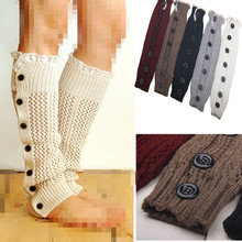Big discount Winter Women Leg Warmers knitted boot socks Button Down Lace Boot Cuffs for Christmas crochet leg warmers 5color(China)