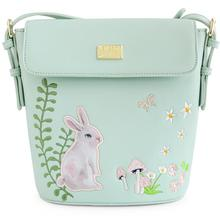 ENSSO New Arrival Lolita Style Cute Embroidery Rabbit Butterfly Green Floral Fresh Barrel-Shaped Female Crossbody Handbag Bags