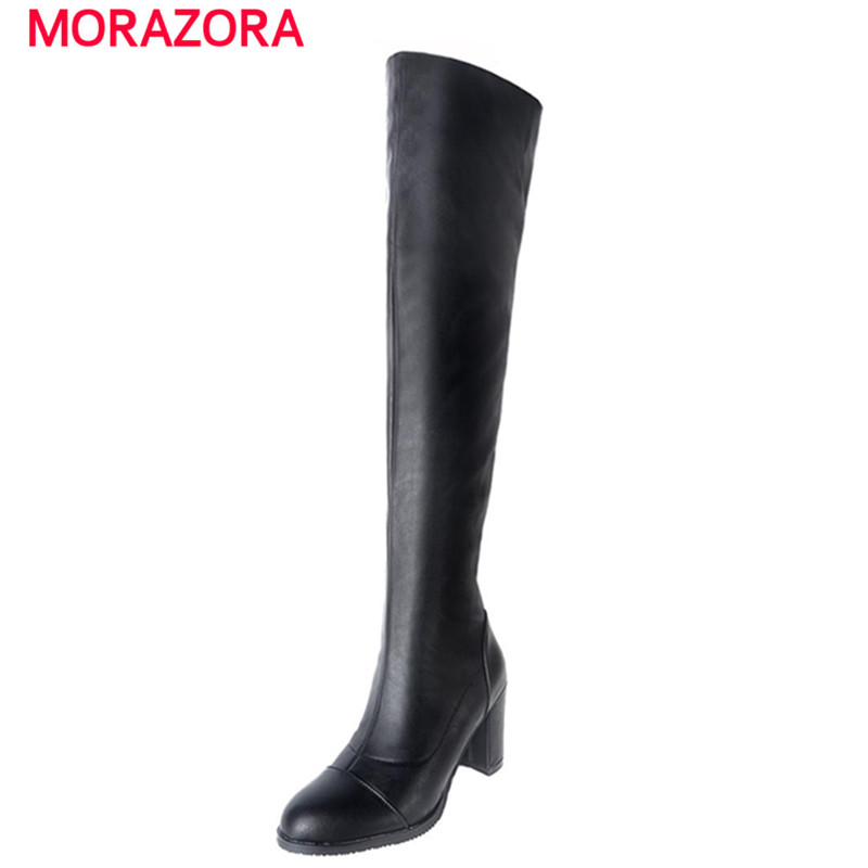 MORAZORA Over the knee long boots women shoes autumn boots med heels boots solid simple elegant party office lady pu <br><br>Aliexpress