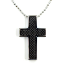 Cool Summer Style for Locomotive Man Black Tungsten Cross Necklace Pendant with Carbon Fiber Free Stainless Steel Ball Chain(China)