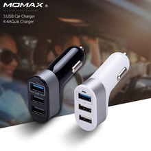 Momax Original 4.4A USB Car Charger for Samsung iPhone 7 Galaxy S8 Xiaomi 3 Port Car Lighter Slot Charger for S8+ Phone Tablet(China)
