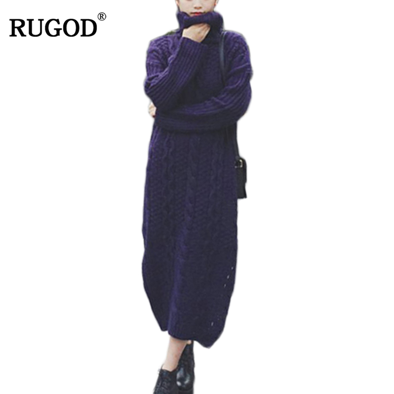 RUGOD 2018 Women casual Sweater Dress Spring Winter Fashion turtleneck Basic long Solid Color twisted Knitted Dress PulloverÎäåæäà è àêñåññóàðû<br><br>