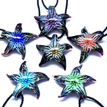 Buy Women Beautiful Murano Lampwork Glass Flower Inside Starfish Pendants & Necklaces Summer Style Jewelry hot Gifts 2017 for $1.44 in AliExpress store