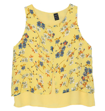 women yellow floral print shirt vintage retro O neck sleeveless chiffon summer shirts casual loose brand tops