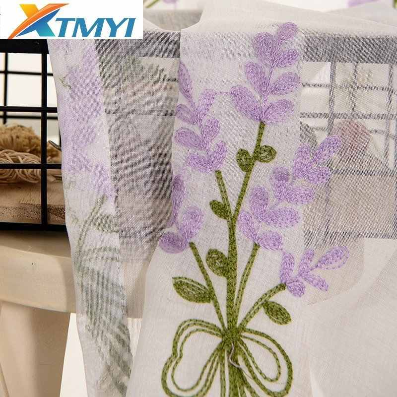 Luxury Embroidered Pink Lavender Flower Tulle Window Curtain Lavender Linen For Home
