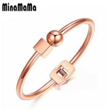 New Trendy Titanium Stainless Steel Silver Rose Gold Color Round Cube Bangle Bracelet for Women Female Gift Jewelry(China)