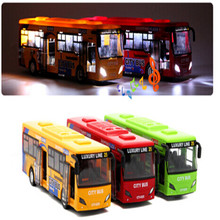 Two-Door City Bus Toys Alloy Tourist Bus Model Toy With Lighting Music Kids Child(China)