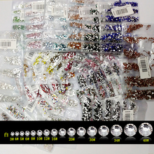 New 22 Colors SS3-SS10 Small Sizes Rhinestones Nail Art Crystal Glass Rhinestones For Nails 3D Nail Art Decoration Gems(Hong Kong)