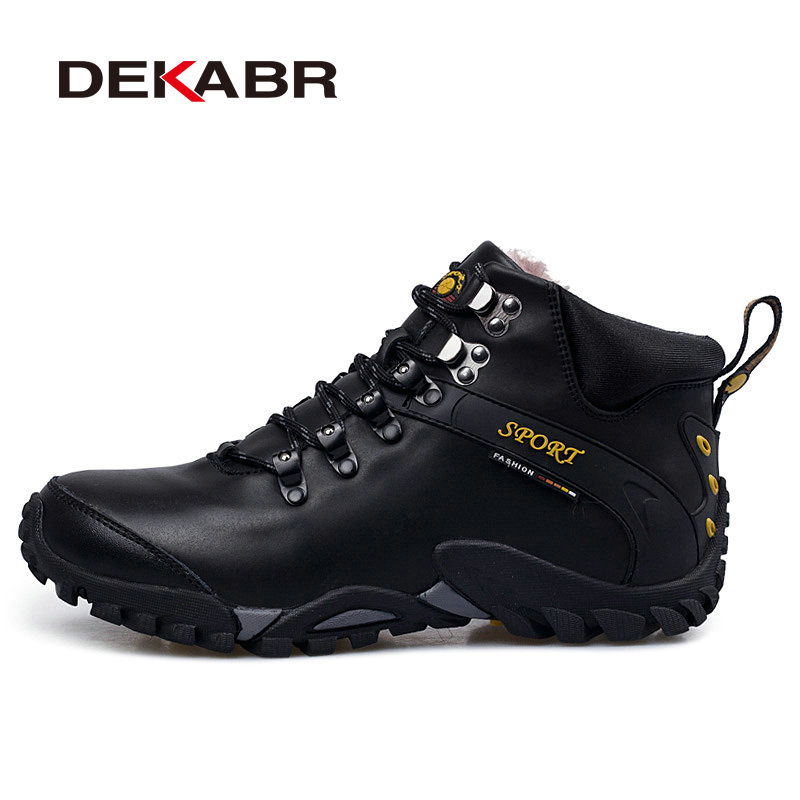 DEKABR Men Genuine Leather Waterproof Hiking Shoes Plus Fur Outdoor Trekking Shoes Camping Climbing Hunting Winter Boots Shoes<br>