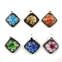 Fashion Rhombus Black Background 3D Flower Designed All Glass Work Pendant For DIY Jewelry 12pcs Wholesale