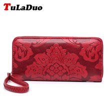 Big Embossing Fashion Women Long Wallet Pu Leather With Zipper Women Money Clips Clutch Bags Flower Print Female Purse Designers(China)