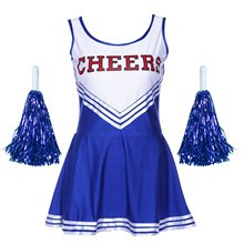 5 PCS JHO-Tank Dress Pom Pom Girl Cheerleaders Disguise Blue Suit M(34-36)