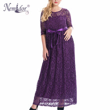 Nemidor High Quality Women Elegant O-neck Belted Party Lace Dress Plus Size 7XL 8XL 9XL Half Sleeve Vintage Long Maxi Dress(China)