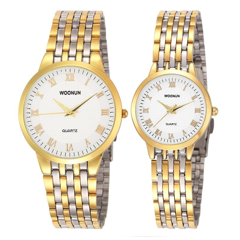 2017 New Couple Watches WOONUN Top Brand Luxury Gold Ultra Thin Quartz Watches Women Men Lovers Watch Set Valentine Gift<br>