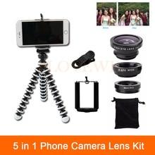5in1 Mobile Phone Lens Kit Wide Angle Macro Fish Eye Lenses For Xiaomi redmi note 3 Meizu Nokia Huawei ZTE HTC Clips Mini Tripod