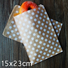 "Kraft Paper Bags, Favour bags, treat bags, giftwrapping, baked goods bag ""white dot printing"" 15x23cm 100pcs/lot"