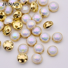 JUNAO 8mm Sewing AB Crystals Pearls Beads Claw Rhinestones Applique Sew On Crystal Stones Round Strass Scrapbooking For Clothes(China)