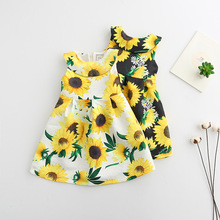 2017 Spring New Girls Dress Sunflower Printed Doll Collar Sleeveless Baby Vintage Dress