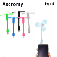 Ascromy Mobile Electronic Mini Fan with USB 3.1 Type C OTG Cable Adapter For Huawei P9 P10 Plus LG G6 G5 Samsung Galaxy S8 Plus