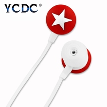 YCDC 4 colors Universal White red pink black Star 3.5mm In-ear Stereo Earphone Headset For MP3 MP4 iPhone HTC G8 G7 G5 2017