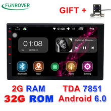 "2G+32G Auto Radio 2 Din Android 6.0 Car Radio dvd player Universal Quad Core 7""gps navigation video wifi BT stereos Full touch(China)"