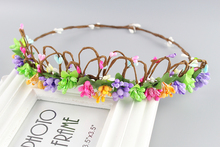 Multi color Crown Rustic Circlet Woodland Halo Bridal Headpiece Wreath Flower Crown Simple Wedding Hair Accessories(China)