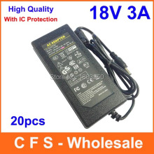 20pcs High Quality AC/DC 18V 3A Power Supply Adapter 18V Adaptor Charger Lots Fedex Free shipping wholesale(China)