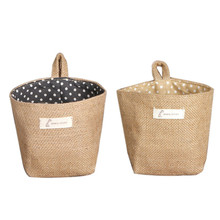 1pc Polka Dot Small Storage Sack Cloth Hanging bag Non Woven Storage Basket hanging behind door holder bags drop shipping supply